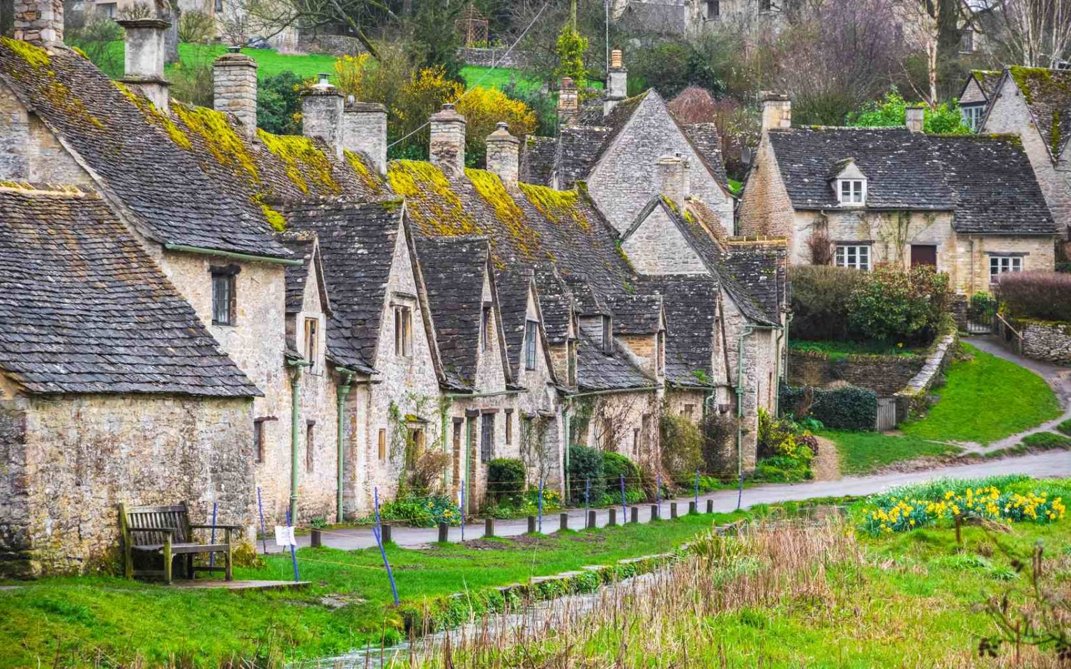 Cotswold stone cottages in Bibury wg