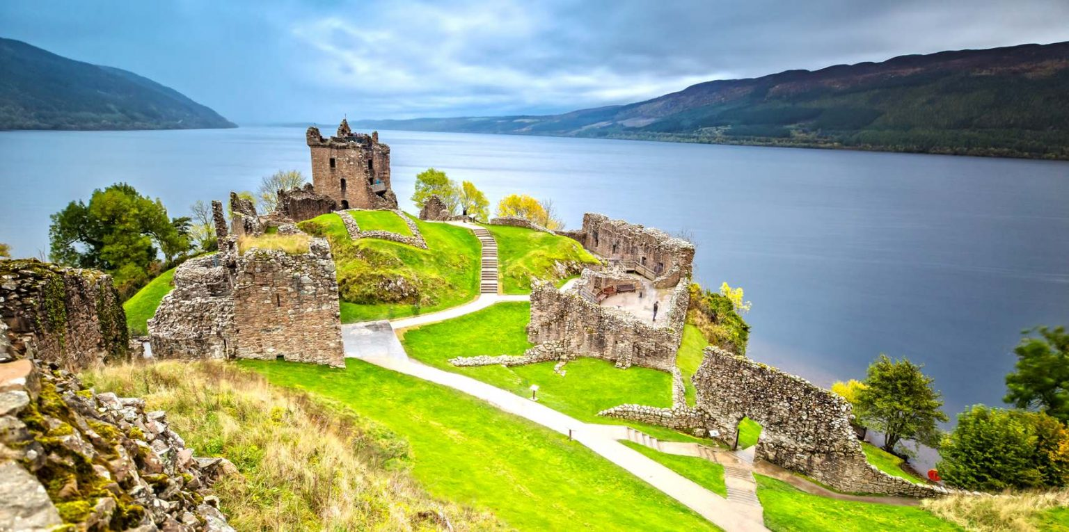Urquhart Castle with Dark Cloud Sky and Loch Ness in the WG