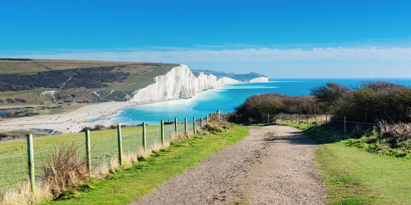 Walk to Cuckmere Haven beach near Seaford, East Sussex, England. South Downs National park